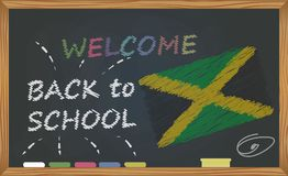 Back to school with learning and childhood concept. Banner with an inscription with the chalk welcome back to school and the Jamai vector illustration