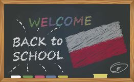 Back to school with learning and childhood concept. Banner with an inscription with the chalk welcome back to school and the Polan stock illustration