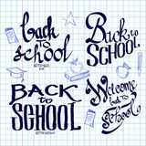 Back to school lettering and calligraphic on a Stock Photo