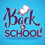 Back to school, lettering composition with image of open book Royalty Free Stock Photos