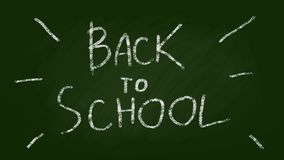 Back to school Lettering on a Green Chalkboard. Stop motion style looped animation royalty free illustration