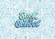 Back to school lettering. Pattern on notebook with blue school things illustrations . Vector illustration design background vector illustration