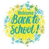 Vector card Back to school lettering. Round icon isolated on white background. Children`s design. Back to school lettering. Round icon isolated on white Stock Photo