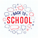 Back to school lettering and speech bubbles Stock Photo