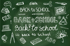 Back to School lettering,Supplies Sketchy Royalty Free Stock Photo
