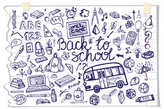 Back to School lettering,Supplies Sketchy Notebook Royalty Free Stock Images