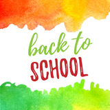 Back to school lettering typography with green and orange watercolor brush strokes. Vector illustration for cards Stock Photo