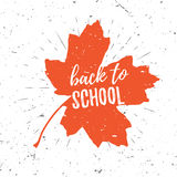 Back to school lettering typography on red maple leaf with burst on a old textured background. Hand drawn trendy design Royalty Free Stock Photography