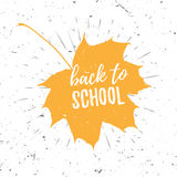 Back to school lettering typography on red maple leaf with burst on a old textured background. Hand drawn trendy design Royalty Free Stock Image