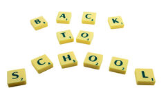 Back to school with letters. Isolated on white Stock Photos