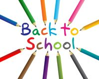 Back to school letters around color pencils Stock Photos