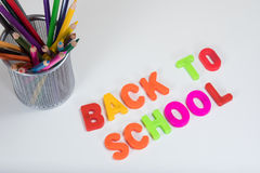 Back to school letters and coloured pencils Royalty Free Stock Photo