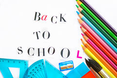 Back to School Letters cut out from the Magazine with school ite Stock Image