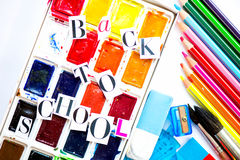 Back to School Letters cut out from the Magazine with school ite Royalty Free Stock Images