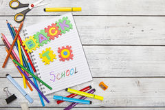 Back to school letters and office or student gear. Education con Royalty Free Stock Photos