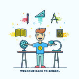 Back to School Line Style Flat Vector Illustration. Stationary Icons. Boy Standing at the Desk with Lamp and Globe. Stock Photo