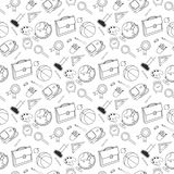 Back to School lineart set. Various school stuff supplies. royalty free illustration