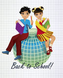 Back to School. Little asian girl and boy with globe Royalty Free Stock Photo