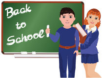 Back to School . Little boy and girl Stock Photos