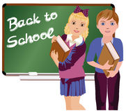 Back to School  Little cute school boy and girl Stock Photos