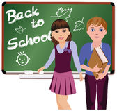Back to School  Little cute schoolboy and schoolgirl Stock Images