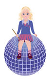 Back to School. Little cute schoolgirl and globe Royalty Free Stock Image