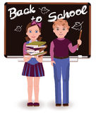Back to School. Little cute schoolkids Stock Images