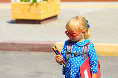 Back to school - little girl near preschool or daycare Royalty Free Stock Image