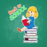 back to school, little girl studying royalty free illustration