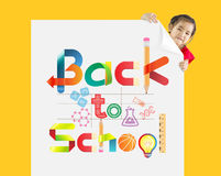 Back to school. Little girl with a white board. And graphics at center of white board Royalty Free Stock Photos