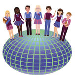 Back to school. Little school friends and globe. Vector illustration vector illustration