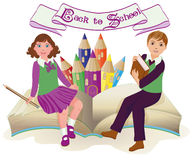 Back to School   Little school girl and boy with old book Royalty Free Stock Photography