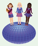 Back to school. Little school girls and globe Stock Images