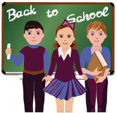 Back to School  Little schoolboys and schoolgirl Royalty Free Stock Images