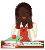 Back to School. Little  schoolgirl with apple Royalty Free Stock Images