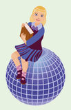Back to School.  Little  schoolgirl with book and globe Royalty Free Stock Photo