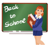 Back to School  Little schoolgirl with book Royalty Free Stock Photography