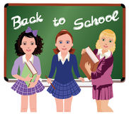 Back to School. Little schoolgirls. Stock Images