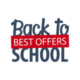 Back to School logo or emblem. Sale and Best offers. Vector illustration. Stock Images