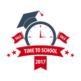 Back to School logo or emblem. Sale and Best offers. Vector illustration. Stock Photography
