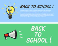 Back to school logo with light bulb and megaphone. Vector illustration Royalty Free Stock Photography
