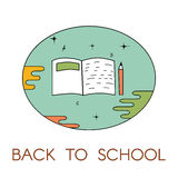 Back to school. Logo with notebook and pencil. Vector illustration. For logo, web, print Stock Images