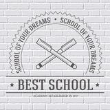Back to school logo or template on a white brick Royalty Free Stock Image