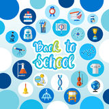 Back To School Logo Text On Background With Studing Supplies Royalty Free Stock Image