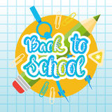 Back To School Logo Text On Notebook Background With Studing Supplies Stock Photo