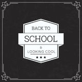 Back to School and looking cool. Badge with ribbon and typographic on a black background with vintage frame chalkboard. Vector stock illustration