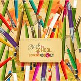 Back to school and looking cool. Vector Collection of colorful School Supplies in vintage style. Poster. Greeting card vector illustration
