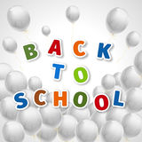 Back to school with a lot of flying white balloons Stock Photography