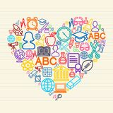 Back to school Love concept illustration. Back to school Love icons education in heart shape over paper sheet background. EPS10 vector file organized in layers Royalty Free Stock Images