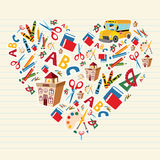 Back to school love heart. Set of school tools and supplies in heart shape background. Vector file layered for easy manipulation and custom coloring Royalty Free Stock Images